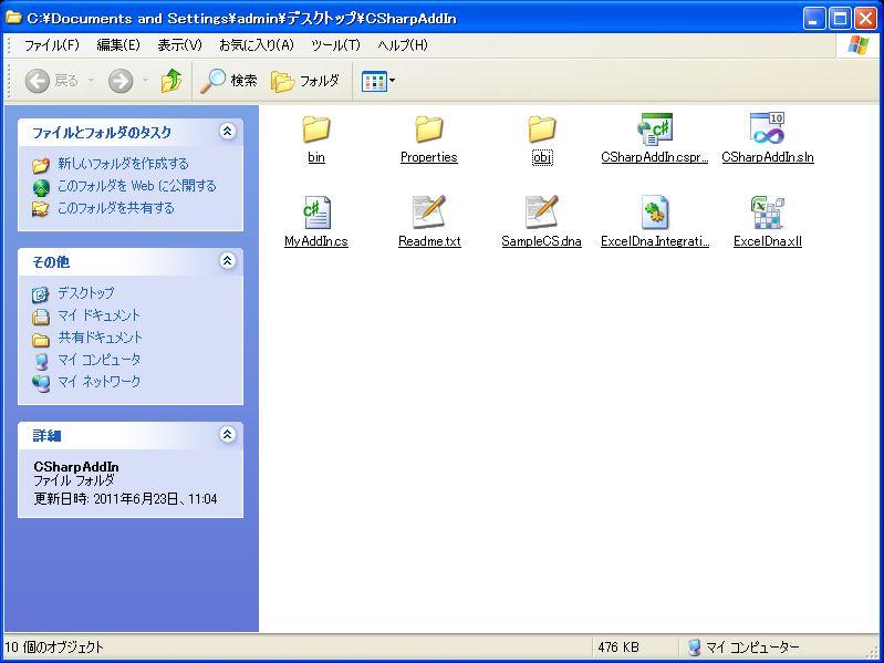 プロジェクトフォルダのファイル構成
